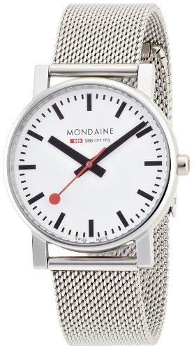 Mondaine Offizielle Schweizer Bahnhofsuhr Evo Damen-/ Herren-Uhr, Quartzuhr mit Silberfarbenem Mesh-Armband