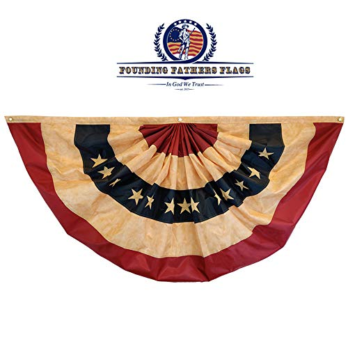 Founding Fathers Flags USA Bunting Vintage Pleated Embroidered Flag 4ft x 2ft - Home Decor, Festivities, Events