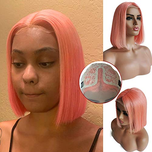 10inch Pink Bob Wig Human Hair Lace Front 100% Brazilian Virgin Human Hair Remy Frontal Bob Wig Silky Straight Swiss Lace Full Head Wig 10 inch 150% Density Can be Coloed and Permed