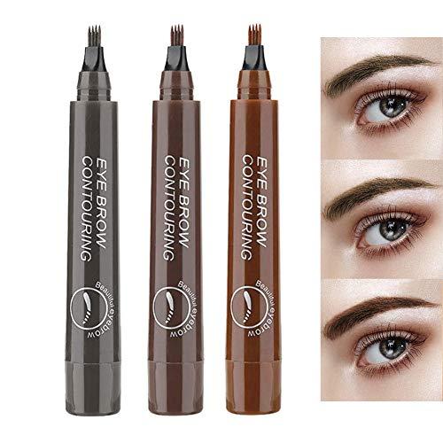 Chizea Eyebrow Tattoo Pen, 3 Farben Augenbrauenstift mit 4 Fork Tips, Wasserdicht Langanhaltend Eyebrow Pencil für Natürlich Augen Make-up, 3 Stück