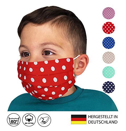 KINDER Facies ROT weiße große Punkte ab 4 Jahre verschiedene Farben u. Designs Wiederverwendbare Stoff Facies aus Baumwolle waschbar Mund und Nasenbedeckung