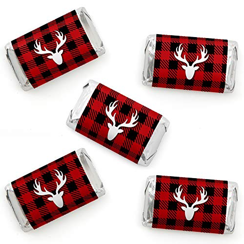 Big Dot of Happiness Prancing Plaid - Mini Candy Bar Wrapper Stickers - Reindeer Holiday and Christmas Party Small Favors - 40 Count