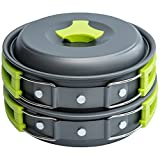 1 Liter Camping Cookware Mess Kit Backpacking Gear & Hiking Outdoors Bug Out Bag Cooking Equipment 10 Piece Cookset | Lightweight, Compact, Durable Pot Pan Bowls - Free Folding Spork, Nylon Bag