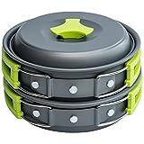 MalloMe Pieza de 1 litro Camping utensilios de cocina Kit del lío Backpacking Gear y senderismo al aire libre Bug bolsa equipo 10 de cocina utensilio ligero
