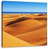 Pixxprint Wüste am Meer, Format: 70x70 auf Leinwand, XXL