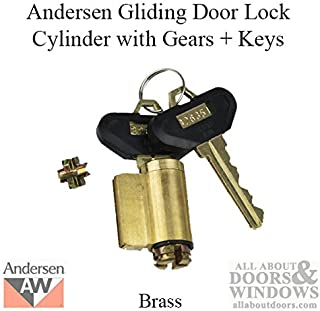 Andersen Frenchwood Gliding Door - Lock Cylinder w/Gears and Keys - Reachout - No Tail - Brass