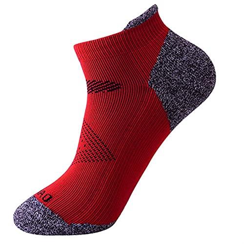 ACEACE Calcetines Corriendo Hombres Sendero Deportivo calcetín maratón Anti-Blister Mujer al Aire Libre Shock absorción atlética Cortos Calcetines (Color : Red, Size : 1(EU 41 44))