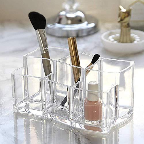 Porte-pinceau de maquillage - acrylique clair 6 emplacements maquillage pinceau organisateur support d'affichage eyeliners stockage de cosmétiques (19 * 11 * 9cm)