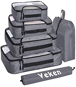 Veken 6 Set Packing Cubes Travel Luggage Organizers with Laundry Bag & Shoe Bag  Gray