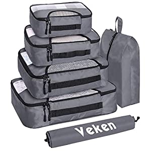 Veken 6 Set Packing Cubes, Travel Luggage Organizers with Laundry Bag & Shoe Bag (Gray)