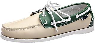 XFQ Chaussures Bateau Homme, Chaussures De Pont Classique en Cuir Ville Chaussures Casual,White Green,40EU