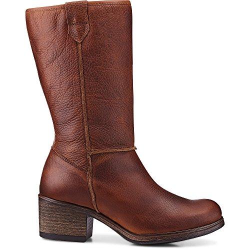Cox Damen Winter-Stiefel aus Leder, Boots in Braun mit weichem Warm-Futter Braun Glattleder 38
