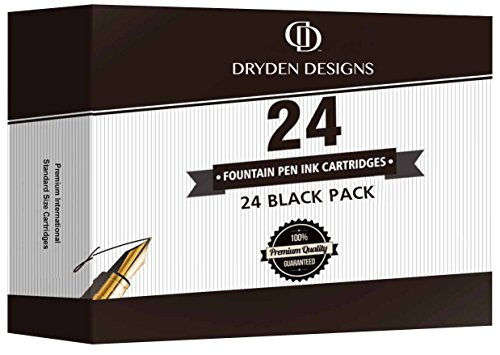 Dryden Fountain Pen Ink Cartridges - Set of 24 Black Ink CARTRIDGES - Short International Standard Size - Disposable and Generic Ink Refill Cartridges - Perfect for Calligraphy