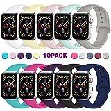 Zekapu Sport Bracelet Compatible avec Apple Watch 42mm 38mm 44mm 40mm, Silicone Souple de Remplacement Classique Bracelet pour...