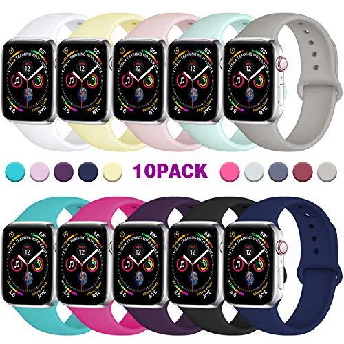 Zekapu Compatibile con Apple Watch Cinturino 38mm 42mm 40mm 44mm, Morbido Silicone Ricambio Classico Cinturini per Apple Watch Series 5/4/3/2/1, 42mm/44mm M/L 10Pack