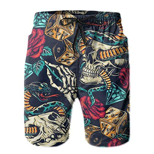HARLEY BURTON Herren Badeshorts Skull Rose Snake Diamonds Dice Quick Dry Badehose Surf Beach Board Shorts mit verstellbarem Kordelzug Gr. XXL, weiß