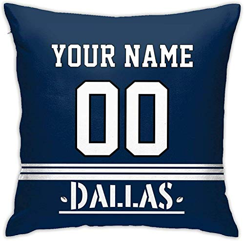 ZHONGH Customizable Throw Pillow Football Pillow Cases for Home Decoration Dallas Cow-Boys, Custom Personalized Pillow Name and Number According to Your preferences