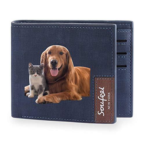 SOUFEEL Personalisiert Männer Geldbörse Geldbeutel aus Leder mit Foto Druck und Gravur Kurz Fashion Portemonnaie mit 4 Kartenfächer 11.5x9.5x0.5 (B x H x T) Geschenk für Freund Mann Blau