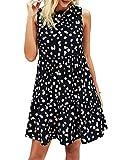 PRETTYGARDEN Women's Casual Sleeveless Ruffle Sun Dresses Round Neck A-Line Pleated Mini Short T Shirt Dress (Black,X-Large)