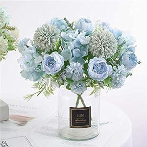 ynh Artificial Flowers, Fake Peony, Silk Hydrangea, Bouquet Decoration, Plastic Carnation, Realistic Floral Arrangement, Wedding Decoration, Table Setting, 2 Pieces
