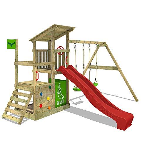 FATMOOSE Spielturm Klettergerüst FruityForest Fun XXL mit Doppel-Schaukel & roter Rutsche, Spielhaus mit Sandkasten, Kletterwand & viel Spiel-Zubehör