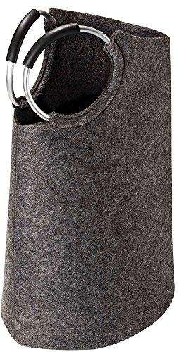 Pieperconcept TASKE, Accessoire, Wäschesack, Filz grau, Griff Aluminium mit rutschfestem Kunststoff, Maße: H/T/B= 70cm - 33cm - 45cm, Gewicht= 870gr.