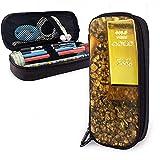 Estuche de lápices Lingotes de oro roto Bolsa de cuero de PU Bolsas de almacenamiento Bolso de lápiz portátil Carteras con cremallera
