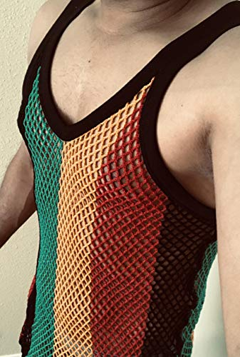 Clossy 100% Cotton Rasta String Vest Mesh Fishnet Fitted Striped Black Red Green Yellow Colours (Large)