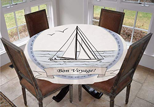 Angel Bags Going Away Party Round Tablecloth,Yatch in Ocean Label Vintage Travel Card Inspired Polyester Table Cloth,90 Inch,for Indoor and Outdoor Events Lilac Baby Blue White