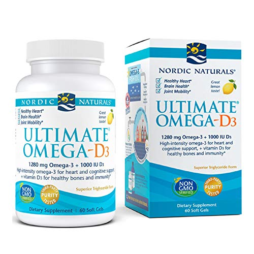 Nordic Naturals Ultimate Omega-D3, Lemon Flavor - 1280 mg Omega-3 + 1000 IU Vitamin D3 - 60 Soft Gels - Omega-3 Fish Oil - EPA & DHA - Promotes Brain, Heart, Joint, & Immune Health - 30 Servings
