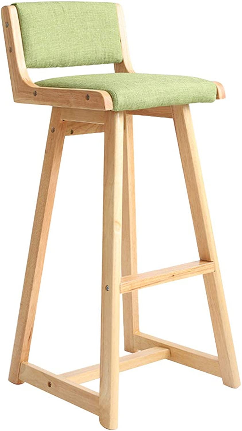 Modern Barstools Chair with Back and Footrest for Kitchen Pub Bar High Stools   Leisure Side Dining Chairs for Bistro Café Counter Height Home Living Room Furniture, Green