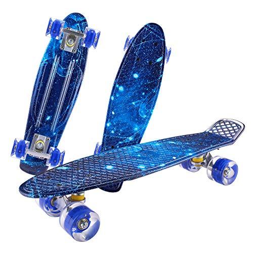 CAROMA Kids Skateboards, komplette Mini Skateboards 22 Zoll Cruiser mit LED Light Up Wheels für Anfänger Boys Teens