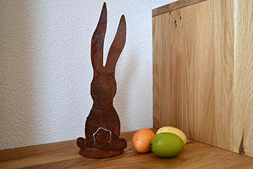 Rouille, lapin de Pâques, Lapin Déco longue avec découpe Lapin sur plaque, hauteur 27 cm