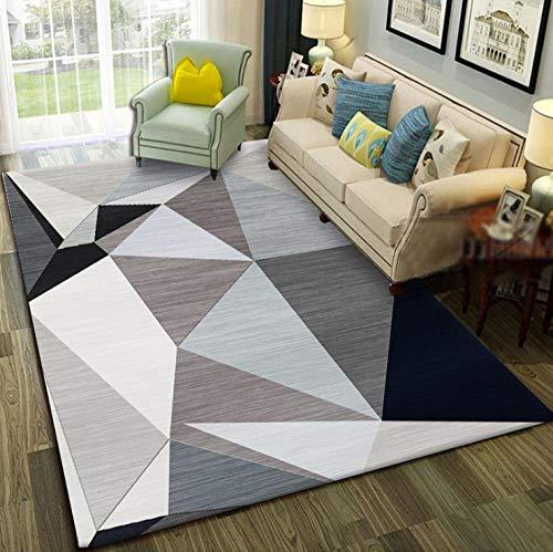 YUANCJ Home Wohnzimmer Teppich,Gestreifter geometrischer moderner minimalistischer amerikanischer Schlafzimmer-Nachttischmodellraum schmutzabweisender waschbarer Teppich 9-80 × 100CM
