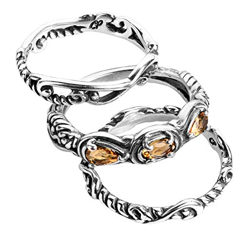 Carolyn Pollack Sterling Silver Yellow Citrine Gemstone Stackable Set of 3 Rings Size 7