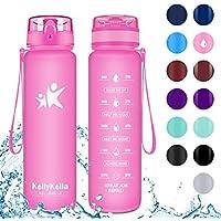 KollyKolla Botella Agua Sin BPA Deportes - 350ml, Reutilizables Ecológica Tritan Plástico, Bebidas Botellas con Filtro & Marcador de Tiempo, para Niños, Tapa Abatible de 1 Clic, Rosa Mate