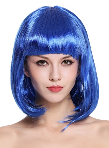 WIG ME UP - 0073-3-PC3 Perücke Damenperücke Karneval Longbob Bob schulterlang glatt blau