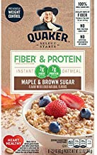 Quaker Instant Oatmeal Fiber&Protein (Previously Weight Control), Maple Brown Sugar, 8-Count Boxes (Pack of 4)