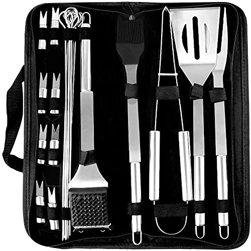 FancyWhoop 20Pcs Stainless Steel Barbecue Tools Set Professional BBQ...