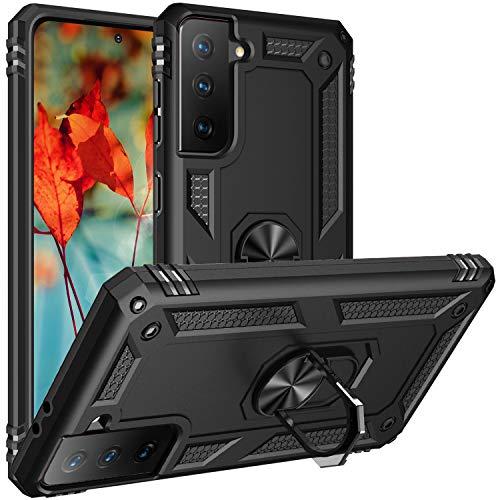 Fetrim Custodia per Galaxy S21, Cover PC TPU Cassa Shell Supporto di Anello Rotante Case per Samsung Galaxy S21 Nero
