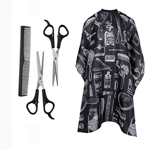 Kit professionale per parrucchieri - 4 set per parrucchieri con forbici per diradare i capelli, forbici da barbiere con pettine e mantello, set di forbici da parrucchiere per salone