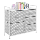 mDesign Wide Dresser 5 Drawers Storage Furniture - Wood Top, Easy Pull Fabric Bins - Organizer for Child/Kids Room or Nursery - Polka Dot Pattern, 32.6' W - Gray with White Dots