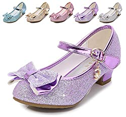 Purple/Ms Heels Mary Jane Princess Flower Girl Shoes