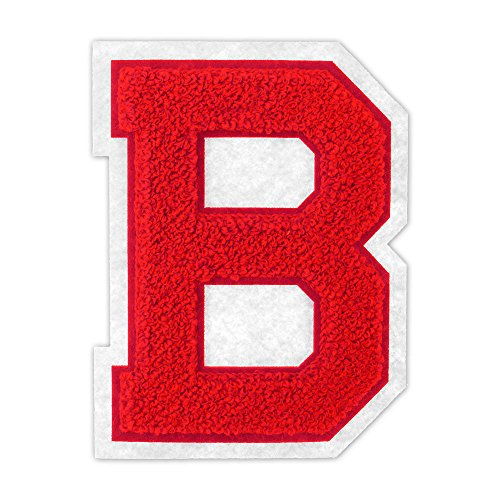 B - Red on White - 4 1/2 Inch Heat Seal/Sew On Chenille Varsity Letter
