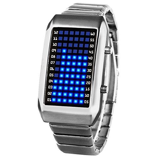 Männer und Frauen Führte elektronische Uhr,30m wasserdicht Kalender Monat Metall Uhr Personalisieren Paar Uhr Student Herren-B