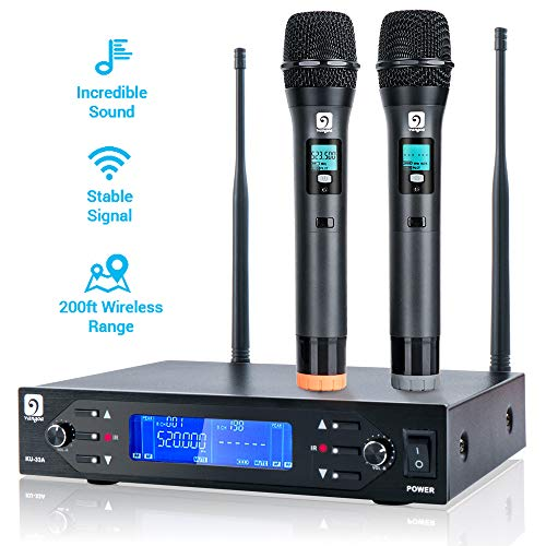 UHF Wireless Microphone, Dual Professional Dynamic Mic Set with Metal Mics, 200 ft Long Operation, Ideal for Karaoke, Party, DJ, Church, Wedding, Outdoor/Indoor Activities,by Vangoa