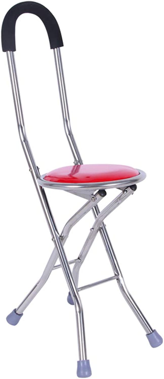 Folding Stool Folding Step Mazza Portable Stool Mazar shoes Stool Footstool Step Stool Adjustable Foot Rest Collapsible Crutch Stool Stainless Steel Four Corners Backrest GAOFENG (color   RED)