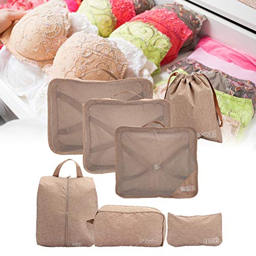 7Pcs Cation-Ion Fabric Travel Storage Bag Set, Wear-resistant Convenient Wrinkle-resistant Luggage Packing Bag, Travel for Home Tattoo Hairdressing(Khaki)