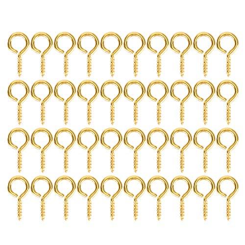 200 alfileres de ojo de perla con tornillo de perla, pequeño conector de tornillo para hacer joyas, accesorios de joyería, ganchos y tornillos de ojo para hacer manualidades (oro)