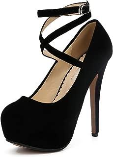 MAIERNISIJESSI Women's Ankle Cross Strap Pumps Platform Stiletto Dress High Heel